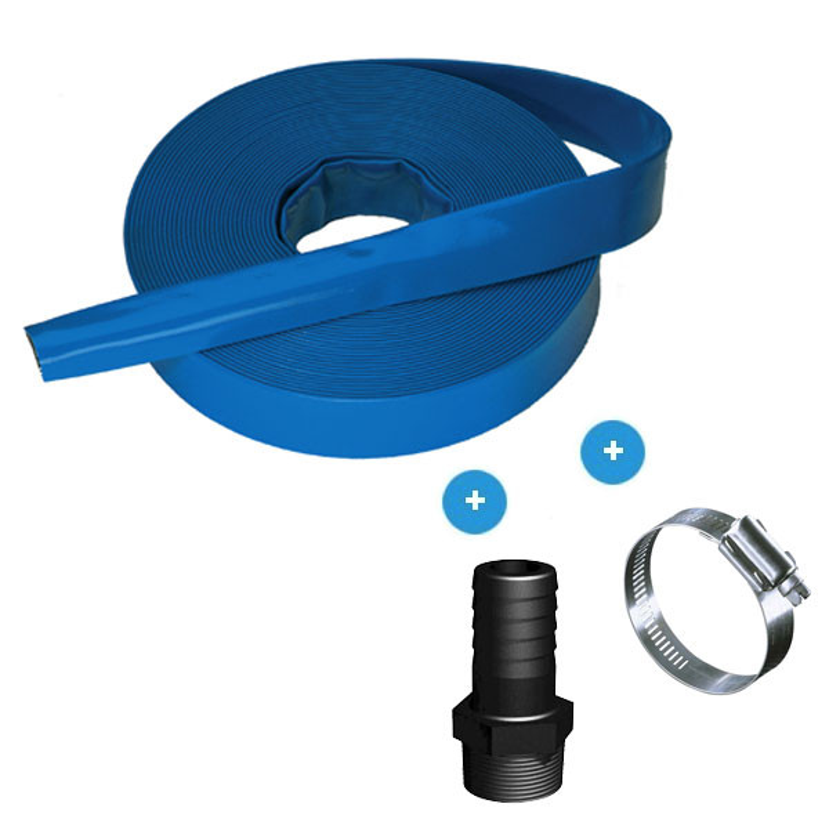 "Twenty-metre, 2"" (50 mm) flat drain hose"