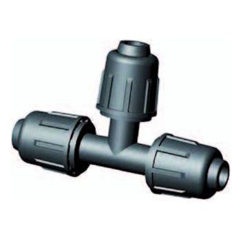 Druppelslang klemkoppeling T-stuk 90º 16 mm