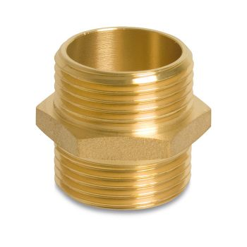 Double nipple brass 1""